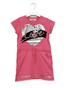Girls Dress Love Printed